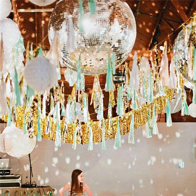 20pcs Wedding Backdrop Fringe Curtain Glitter Gold Silver