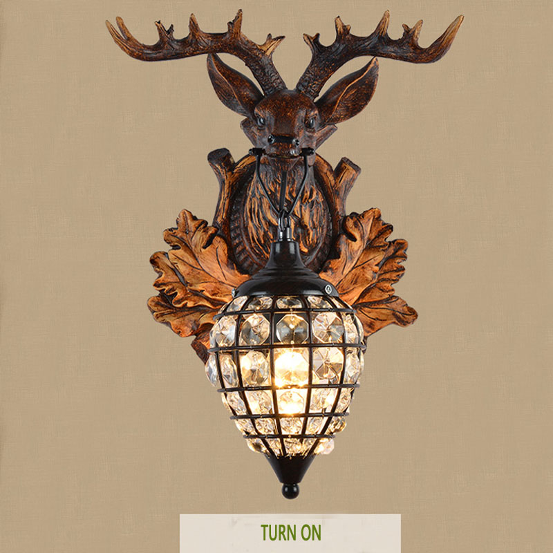on sconce modern head decoration deer home in sconces antler resin wall lighting bed item lamps light from lights horn lamp diamond