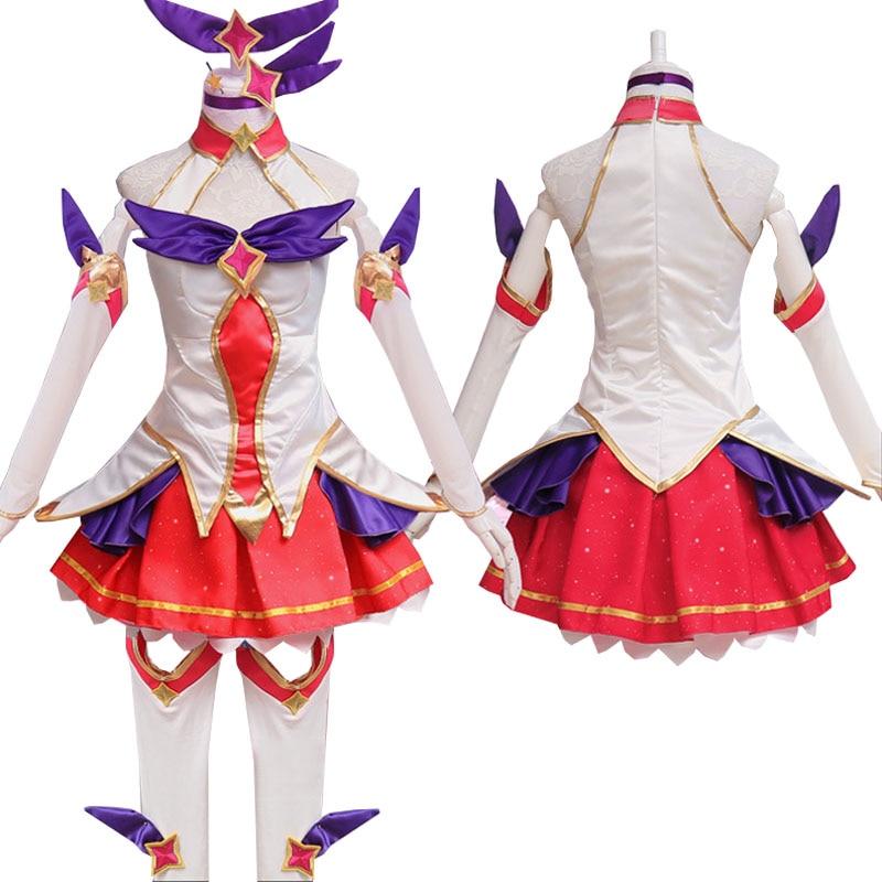 LOL Star Guardian Ahri Cosplay Costumes Magic Girl The Nine-Tailed Fox Cosplay Dress Full Set Wigs Anime Wholesale