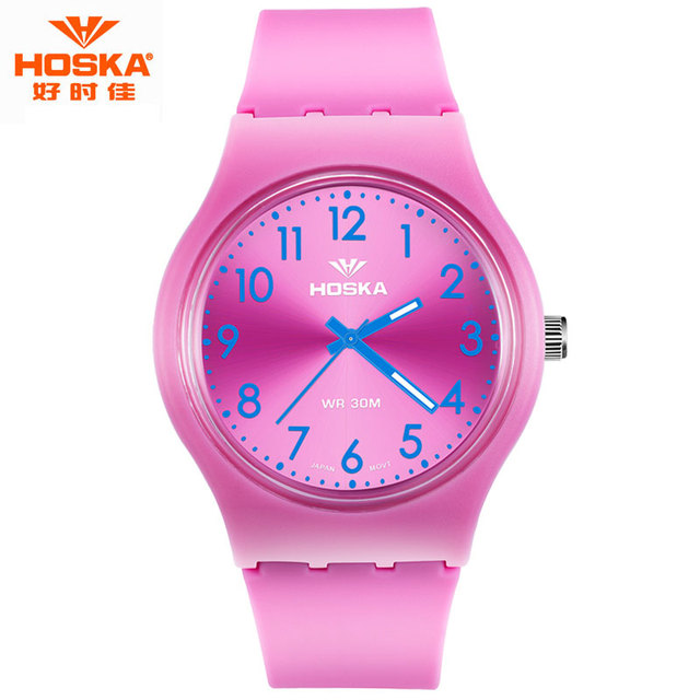 Children Brand Watch HOSKA Casual Simple Hiking Fitness Day Date Rubber Plastic Band Girl Quartz Wristwatches montre enfant H801
