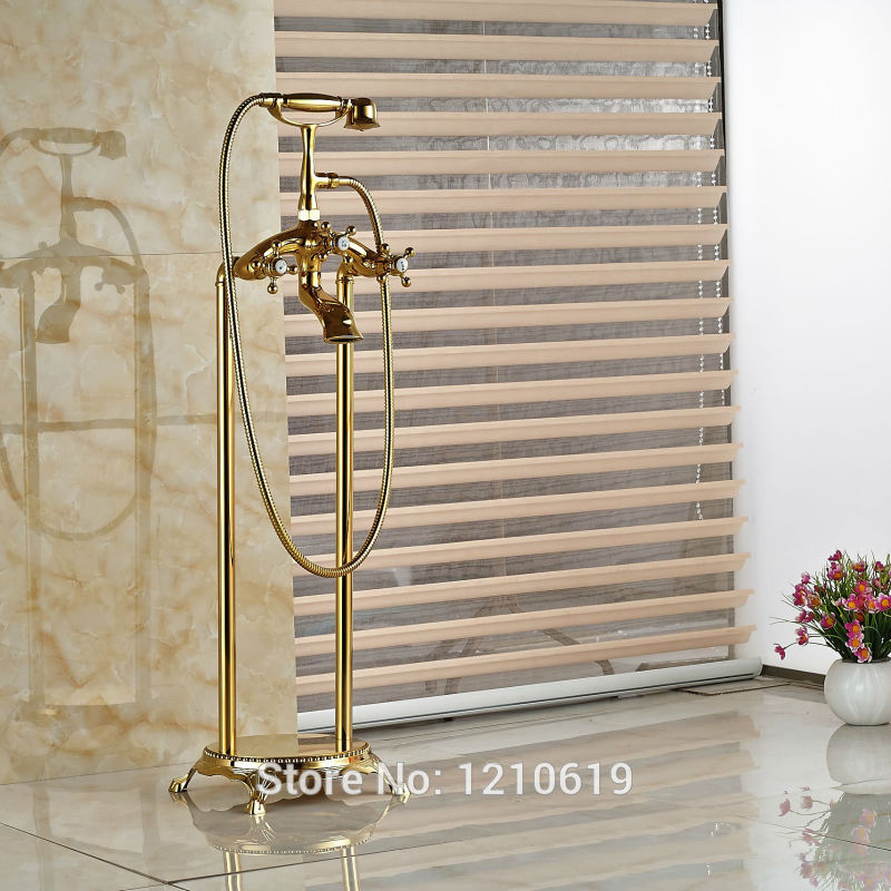Newly Euro Luxury Bathroom Tub Faucet w/ Handheld Shower Gold Plate Floor Type Bathtub Faucet Mixer Tap free shipping polished chrome finish new wall mounted waterfall bathroom bathtub handheld shower tap mixer faucet yt 5333
