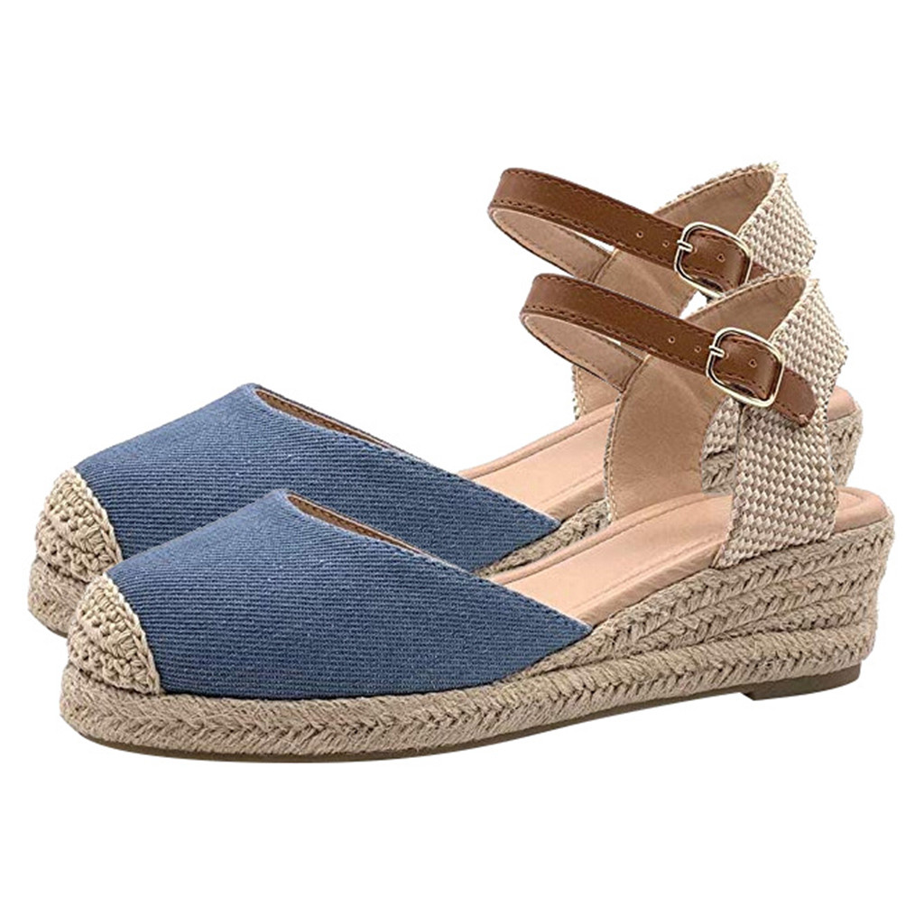 Women/'s Casual Lace Up Wedge Sandals Espadrille Platform Med Heel Shoes Size New