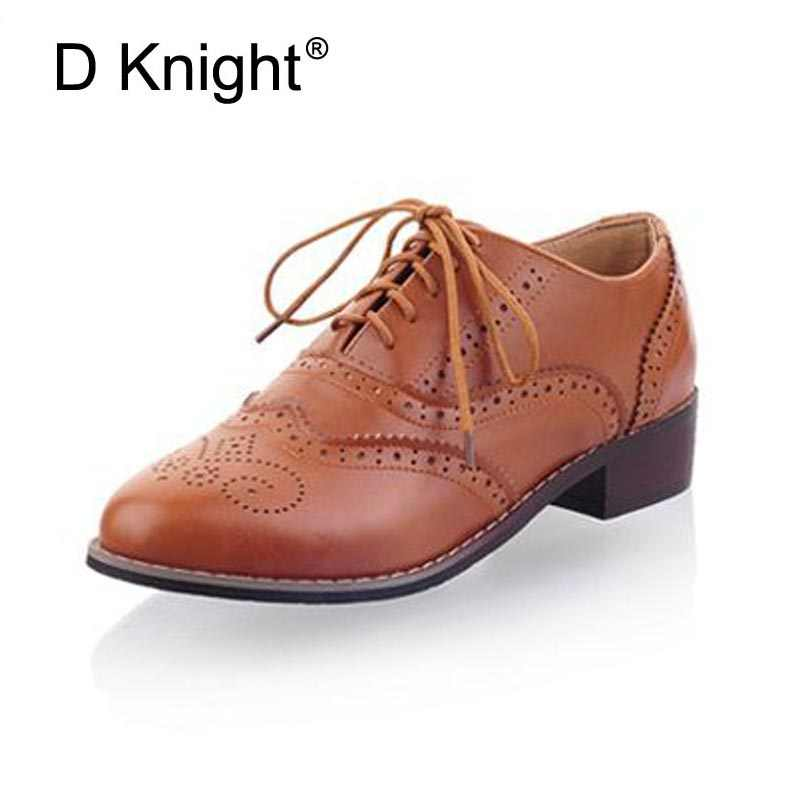 Phụ nữ Oxfords New Vintage Pu Lace Up Flat Oxfords Cho Phụ Nữ Big Size 34-43 Ladies Casual Flat Oxford Giày Khắc Đi Núi Oxfords