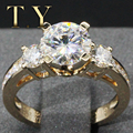 Классический Желтого Золота Три Каменных Кольца 14 К Подлинный Сертификат 2CT Круглой Бриллиантовой Moissanites Лаборатория Grown Бриллиантовое Обручальное Кольцо
