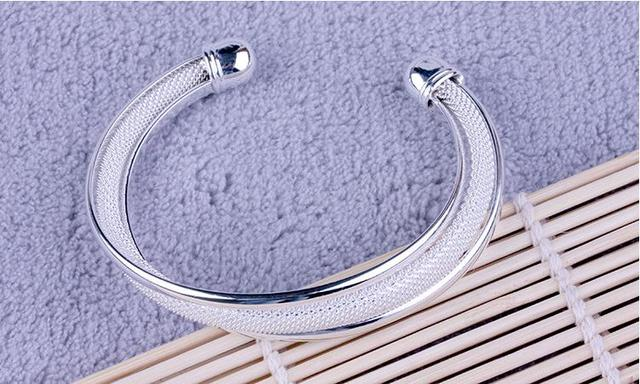 100% 925 sterling silver fashion simple design ladies`bangles jewelry no fade cheap bangle women female wholesale gift