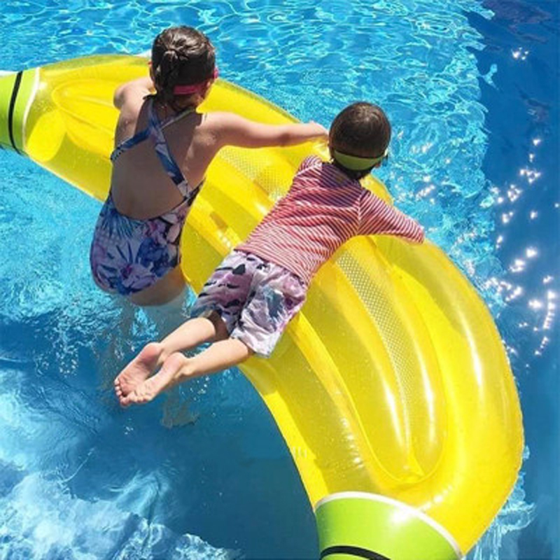 180x65cm Giant Inflatable Banana Pool Float Lie-on Fruit Swimming Ring For Adult Children Water Toy Beach  Air Mattress Boia