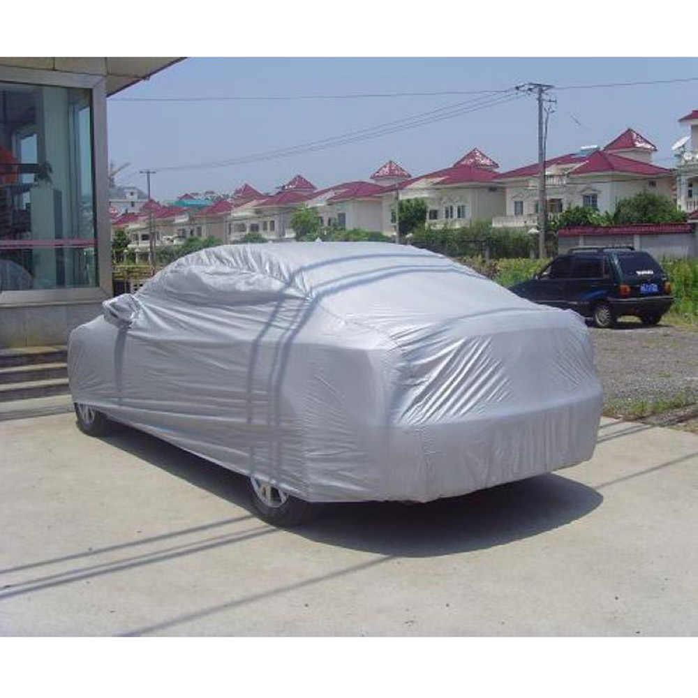 Uniwersalne pełne pokrowce samochodowe śnieg lód kurz słońce UV cień pokrywa składana lampka rozmiar srebrny S-XXL Auto samochód pokrywa ochronna do użytku na zewnątrz okładka