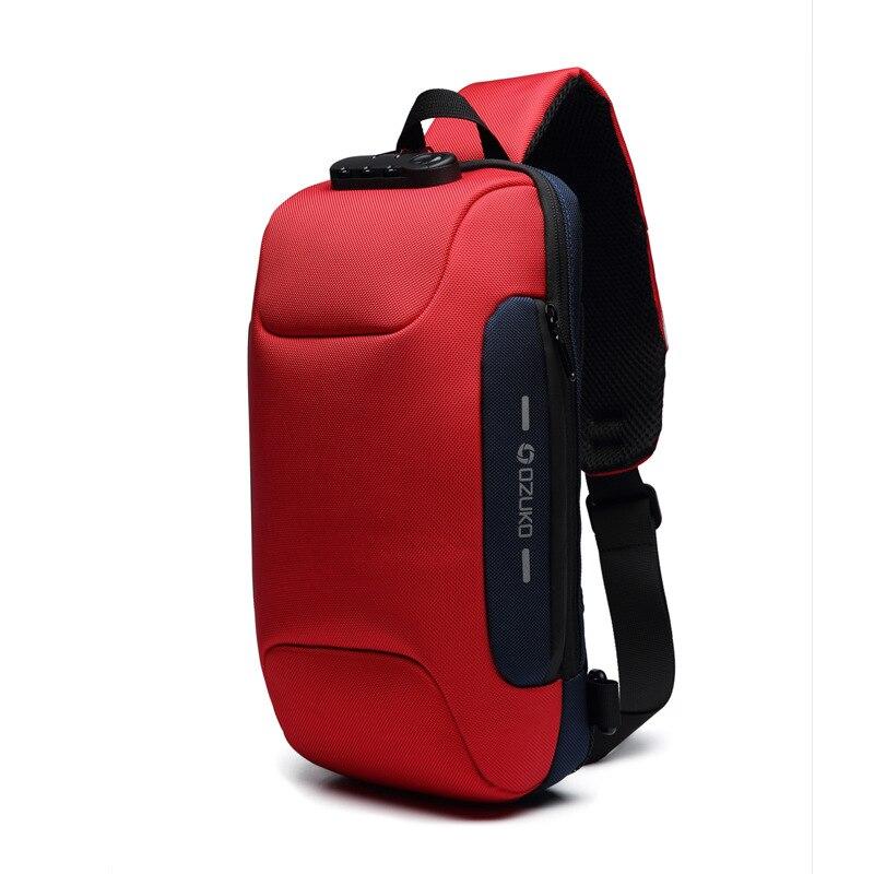 OZUKO Новая универсальная сумка через плечо для мужчин Противоугонная сумка через плечо мужская непромокаемая короткая сумка на грудь - Цвет: Красный