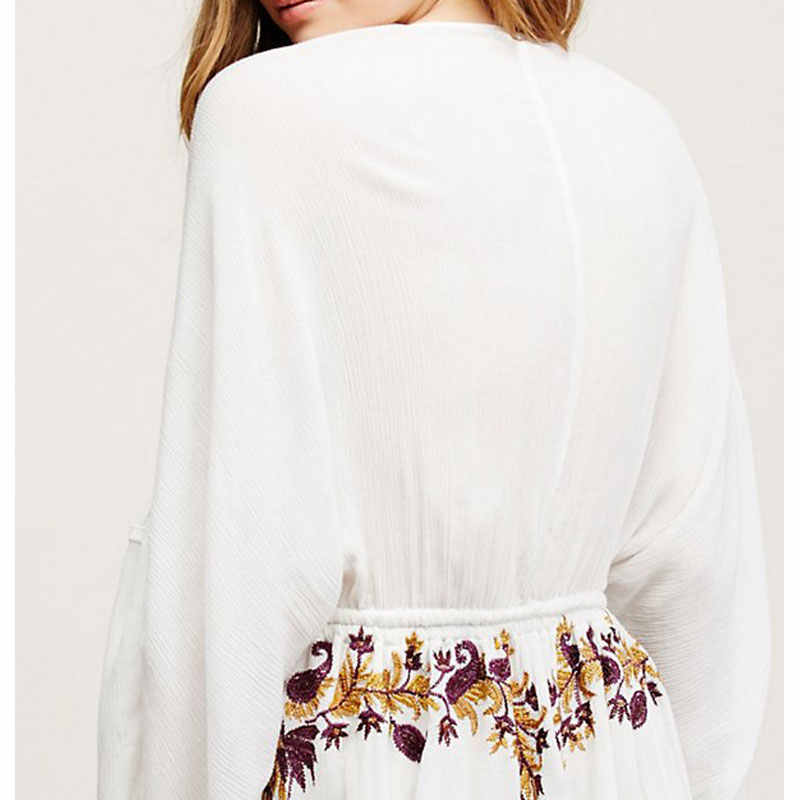 Vestidos 女性 2019 夏の V ネック〜を除いて袖パイナップルパターン刺繍ミニドレスカジュアルヒッピー自由奔放に生きる人女性のドレス