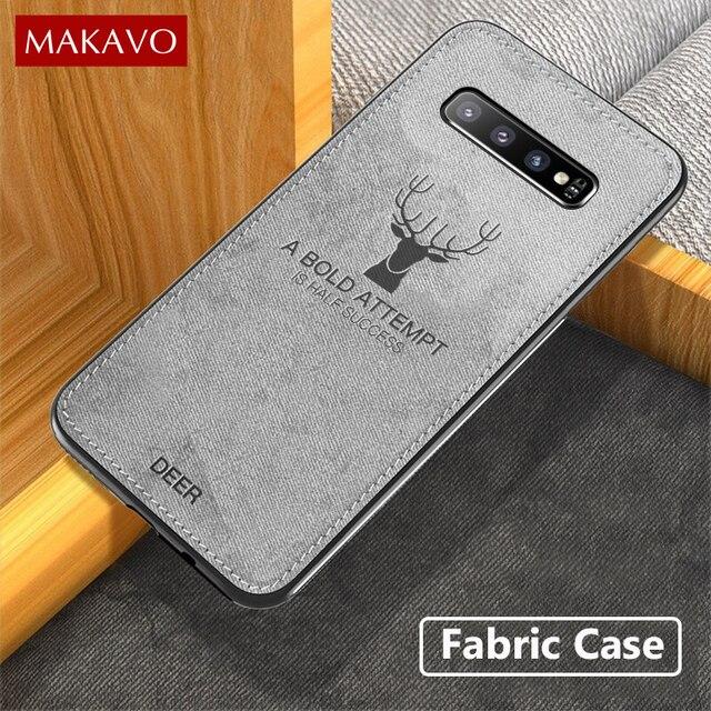 MAKAVO מקרה לסמסונג גלקסי S10 בתוספת S10e בד מרקם רך כריכה אחורית עבור Samsung הערה 9 8 S8 S9 בתוספת S7 קצה טלפון מקרה