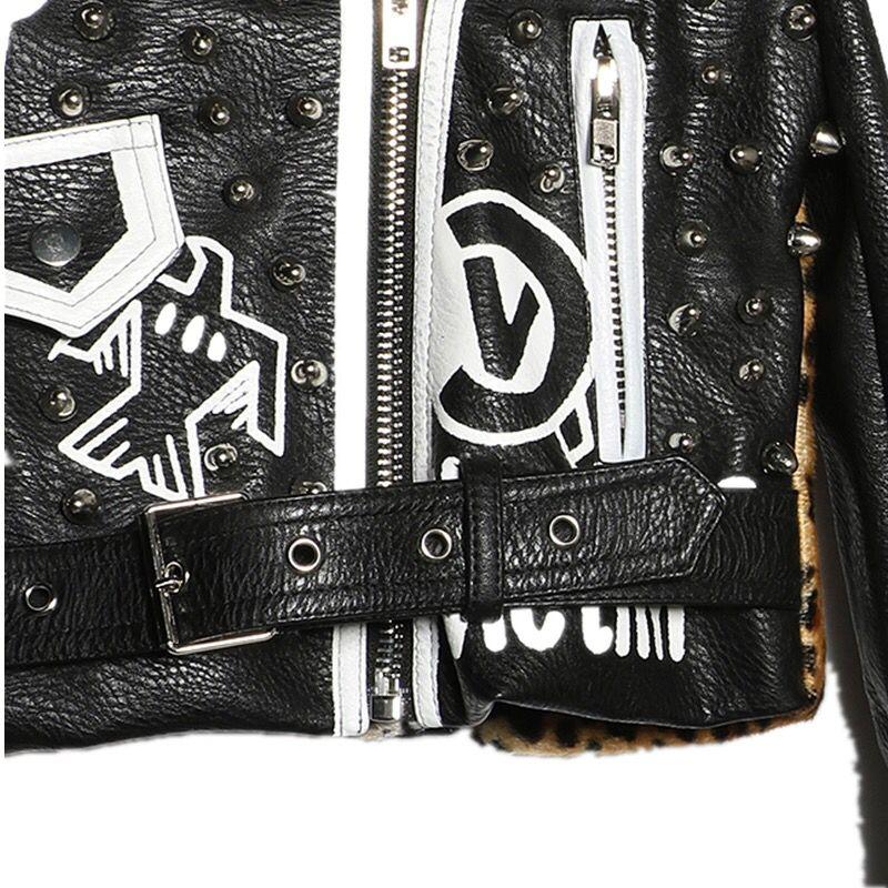 En Streetwear Veste De Style Léopard Mode Noir Cuir Lettres Femmes 2017 Rock Impression Pour Automne Rivet Moto Punk SAIqWa4