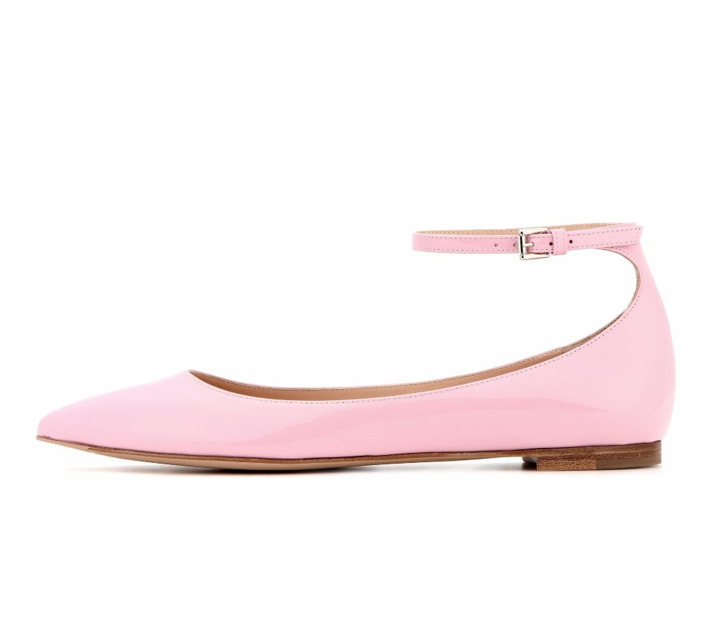 Womens Fashion Handmade Ankle Strap Pointed Toe Party Wedding Flats Shoes CKE119 pu pointed toe flats with eyelet strap