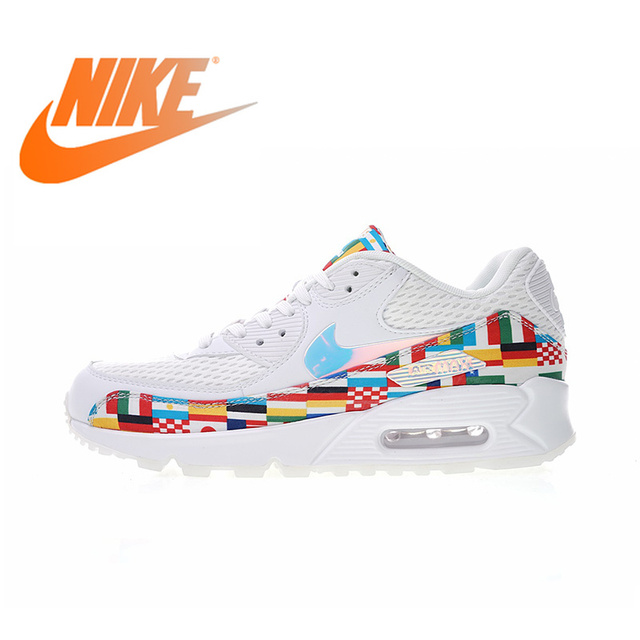 8cb149360501 Original Authentic Nike Air Max 90 NIC QS International Flag Men s Running  Shoes Sport Outdoor Sneakers Breathable AO5119-100