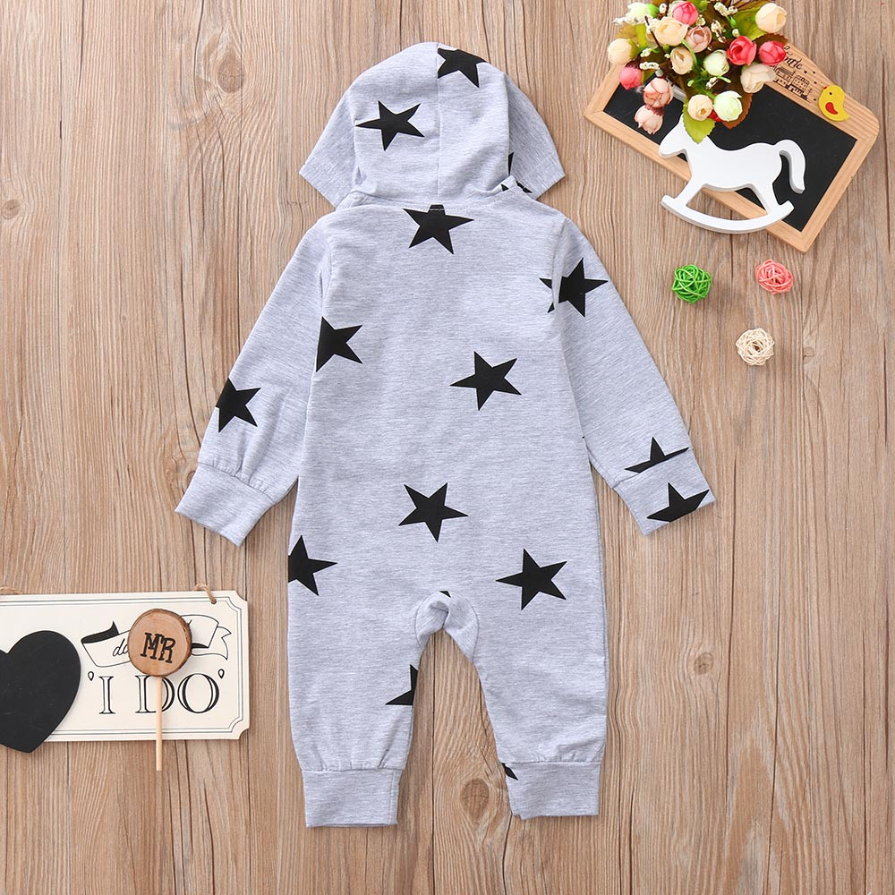 HTB16f4GaiHrK1Rjy0Flq6AsaFXa2 Newborn Infant Baby Girls Boys Stars Print Hooded Zipper Romper Jumpsuit Outfits Spring Brand New Fashion Newborn Jumpsuits
