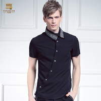 Free Shipping New Male Casual Fashion Men S Placket Personality Irregular Oblique Collar Flower Embroidery Shirt