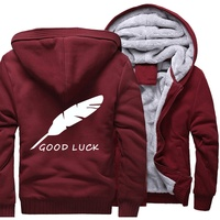 2019 Casual Brand Thicken Hoodies Men Autumn Winter Fleece GOOD LUCK Letter Print Homme Casual Coat Streetwear Hipster Tracksuit