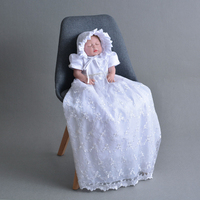 Newborn Baby Christening Gown White Baptism Dress with Bonnet Hat Beaded Tulle Dresses Long Embroidered Lace Frock A015 Robe