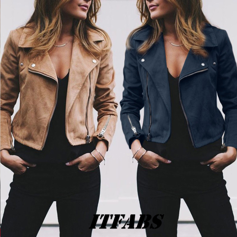 Coat women Ladies Suede Leather Jackets Zip Up Biker Female Casual Coats Woman Flight Coat 7