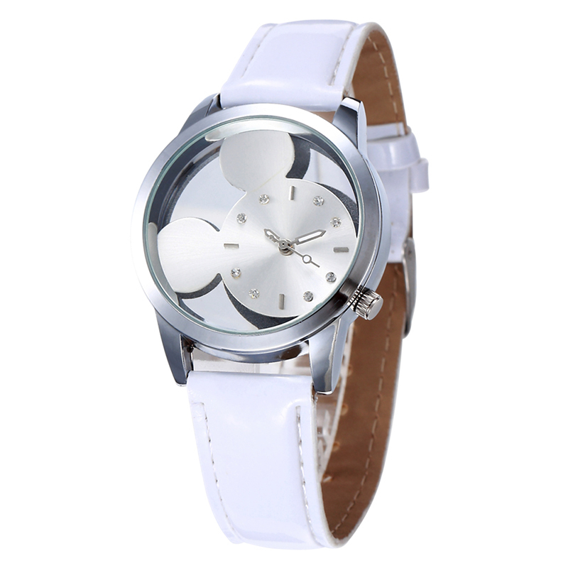 Fashion Mickey Minnie Mouse Women Watches Ladies Casual Leather Hollow Watch Female Rhinestones Quartz Clock Gifts Relojes #1TWF