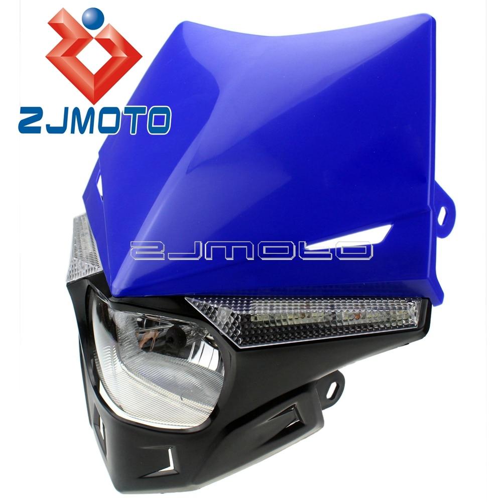 Dirt bike Street Fighter Motorcycle Universal LED Vision Headlight headlamp H4 headlight for yamaha wr250 wr450 xt660 кофры komine
