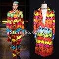 Plus Size M-4XL Multicolor Flower Printed Suits Male Singer GD Show Wear Stage Long Blazer Trousers Bar Party Costume Jacket