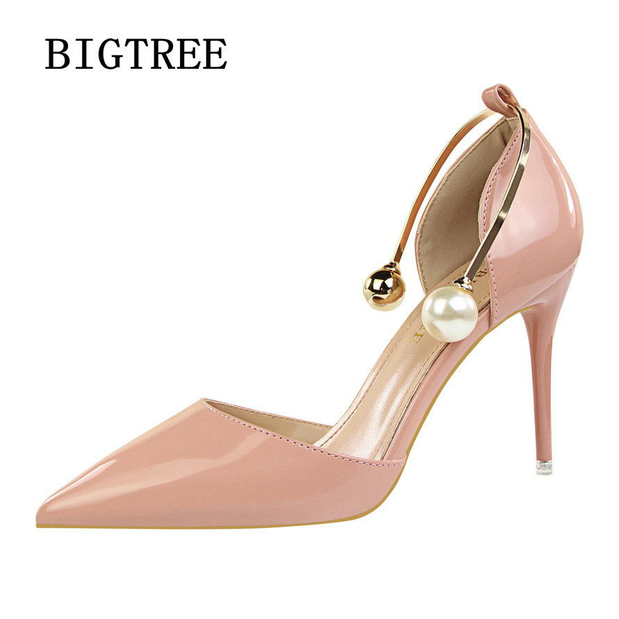 BIGTREE Summer Shoes Women Pumps Pointed Toe High Heels Single Shoes Women Luxury Elegant Party Sandals Red Wedding shoes woman koovan women pumps 2017 pointed high heeled shoes pink pearls wild night clubs single buckle women s sandals ladies summer