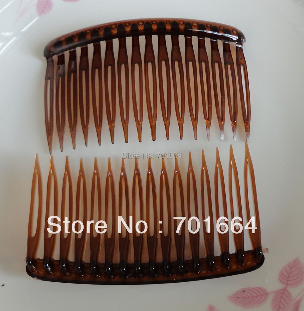 10PCS 5.0cm*8.0cm 16teeth clear dark brown plain plastic hair combs for diy hair accessories,side comb Bargain for Bulk