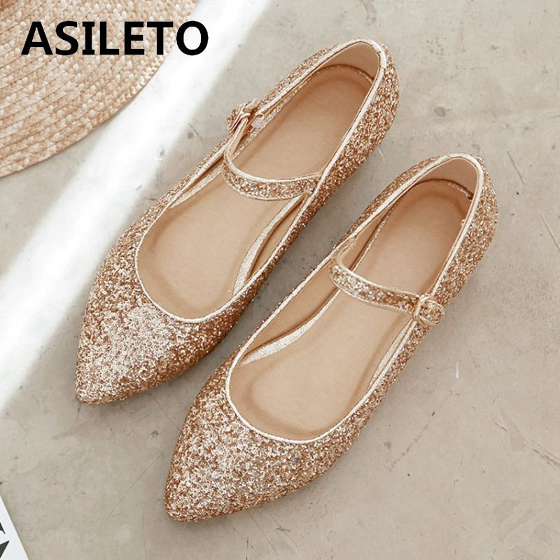 Asileto Women Ballet Flats Bling Sequin Glitter Flat Shoes Woman Buckle Spring Summer Party Wedding Shoes Pointed Toe Sapatos
