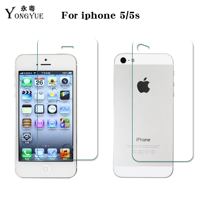 2pcs/lot Front+Back 9H Tempered Glass screen protector For iphone 5 5s apple mobile phone lcds touch panel protective film