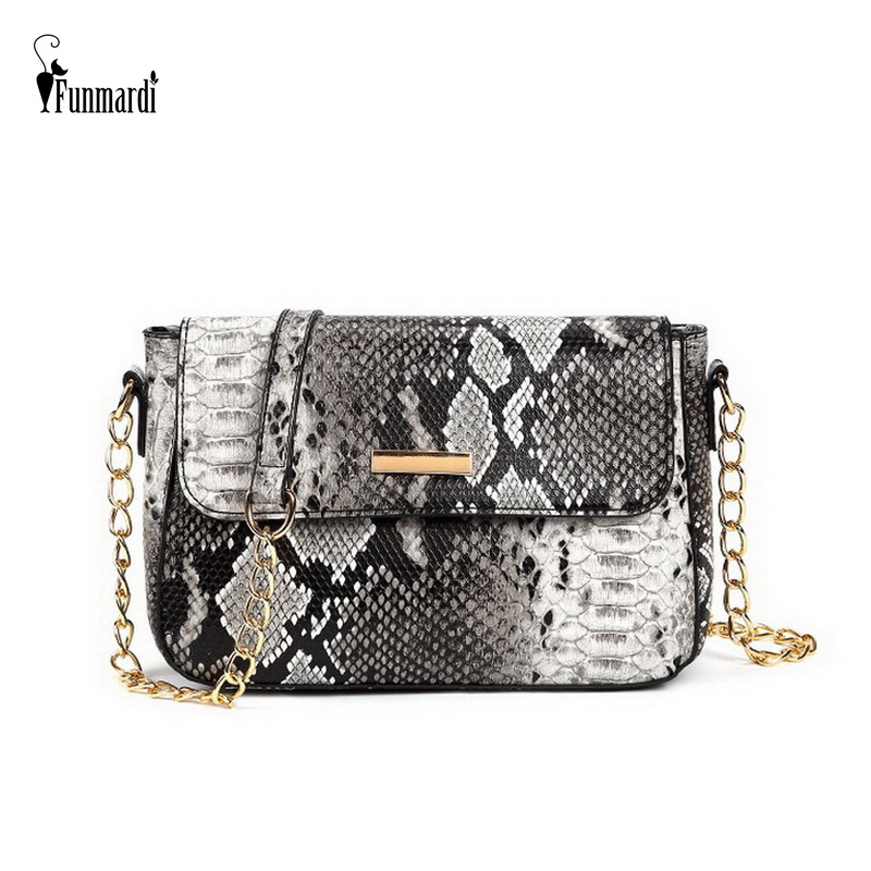 FUNMARDI Women Shoulder Bags Snake Pattern Small Crossbody Bag PU Leather Woman Bag 2019 New Serpentine Messenger Bag WLHB1790B