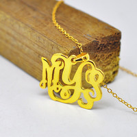 Wholesale Gold Necklace With Monogram Name 1 3 Initial Personalized Nameplate Pendent Custom Bridesmaid Jewelry Collar