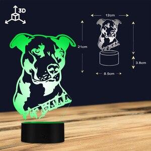 Image 4 - חיות מחמד כלב כלבלב 3D שולחן מנורת ילד חדר לילה אור אמריקאי גמיש Pitbull טרייר תוכנן בית תפאורה LED מנורת מותאם אישית שם
