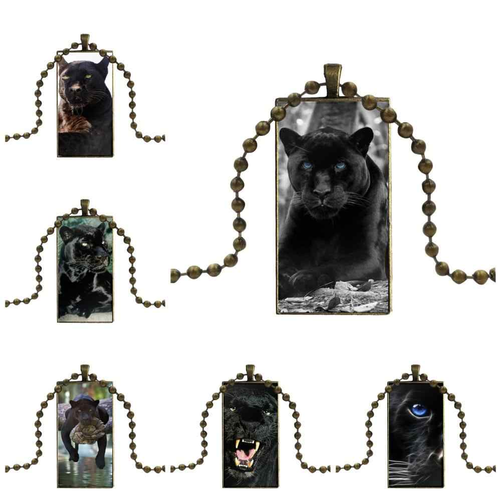 For Wedding Beautiful Black Panther Jewelry With Bronze Plated Glass Cabochon Choker Long Pendant Rectangle Necklace