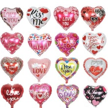 10pcs/lot 18'' I LOVE YOU Balloons Valentine day Wedding Decorations Party Supplies Heart shape Love Foil Balloons Globos