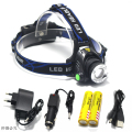 4000LM LED flashlight  XM-L T6 Headlight 18650 flashlight head light lamp +2x 5000mAh 18650 Battery+car charger+ EU/US charger