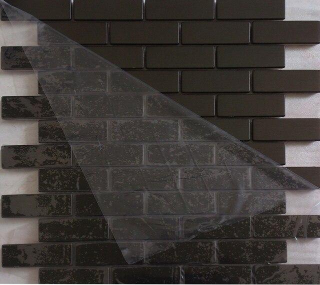u bahn streifen schwarz farbe edelstahl metall mosaik fr heimwerker kche backsplash fliesen badezimmer dusche - Ubahn Fliese Kche Backsplash Bilder