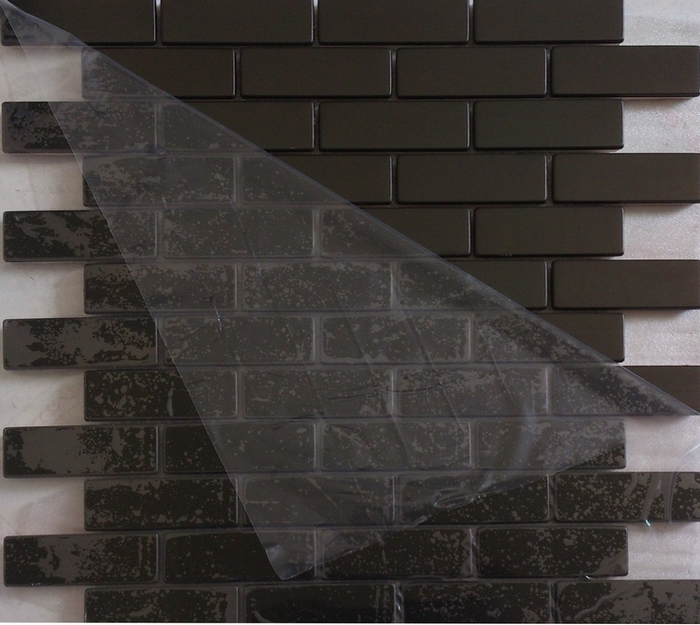 subway strip black color stainless steel metal mosaic for