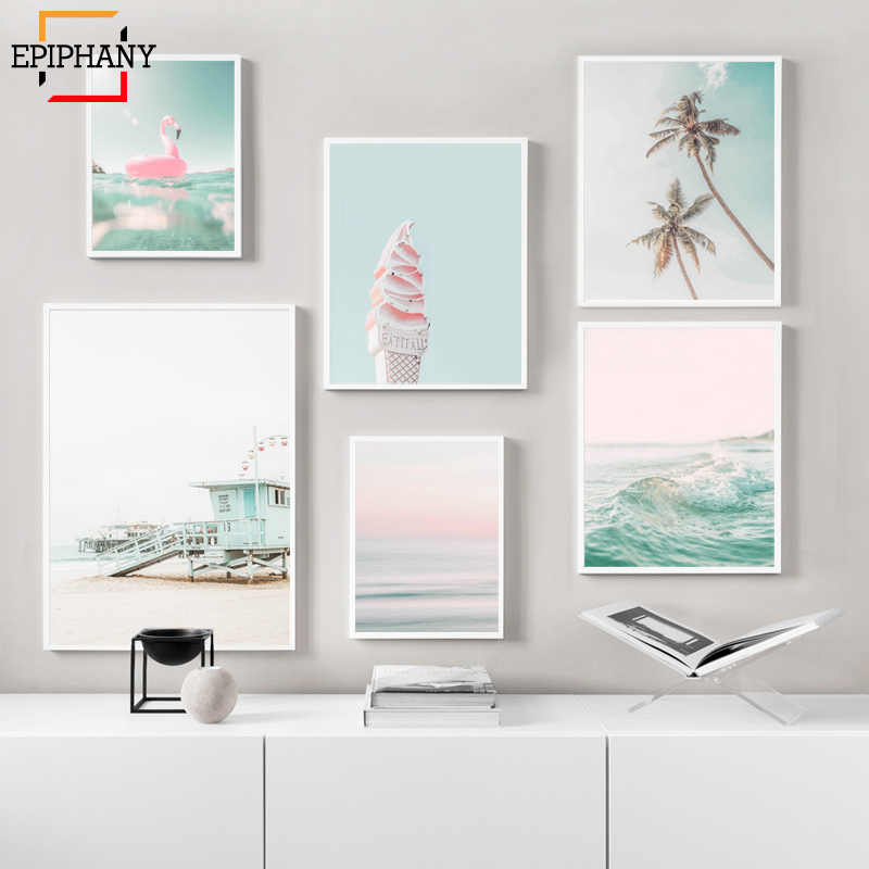 Beach Wall Art Print California Pink Pastel Modern Home Decor Nursery Summer Posters and Prints Wall Pictures for Living Room