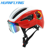 Ultra-light 235g Goggles Cycling Helmet Road Mountain MTB Bicycle Helmet In-mold Bike Helmet With Sun Visor Helmet M54-58cm
