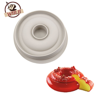 WIILII 3D Silicone Round Cake Mold Hollow Ring Shaped Mousse Pan Decorating Baking Tools