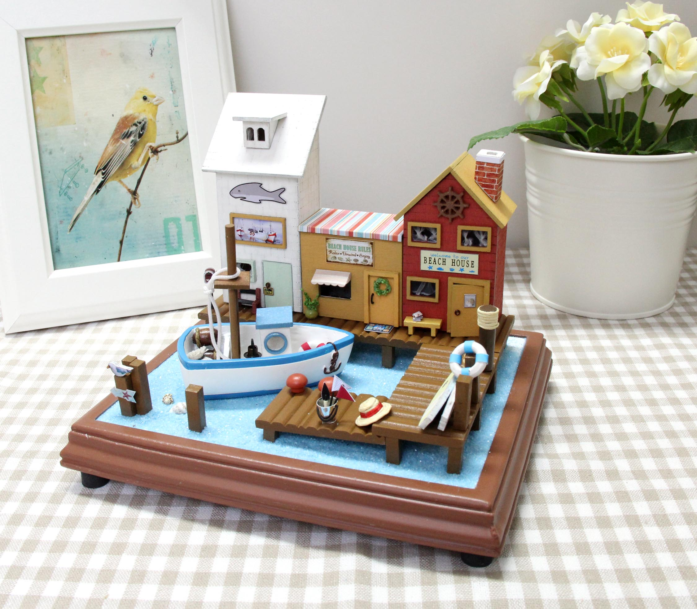 Assembled model House Set with Furniture Miniature 3D Wooden Dollhouse LED Handmade Toys For Children  T016#