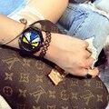 Relógio feminino Cinco-pin calendário Pequeno Monstro Senhoras Relógio Grande mostrador De Quartzo-relógio com Pulseira de Couro Relógios Das Mulheres