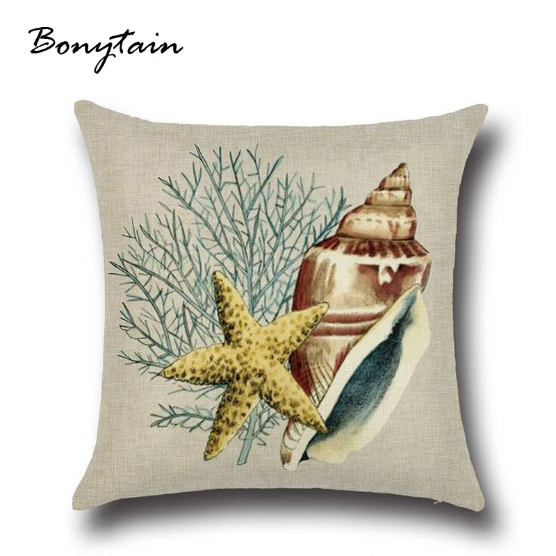 Thicker Cushions Cover Blue Concise Scrim Hippocampus And Anchor Pillow Covers Decorative Machine Washable Coussin Lombaire