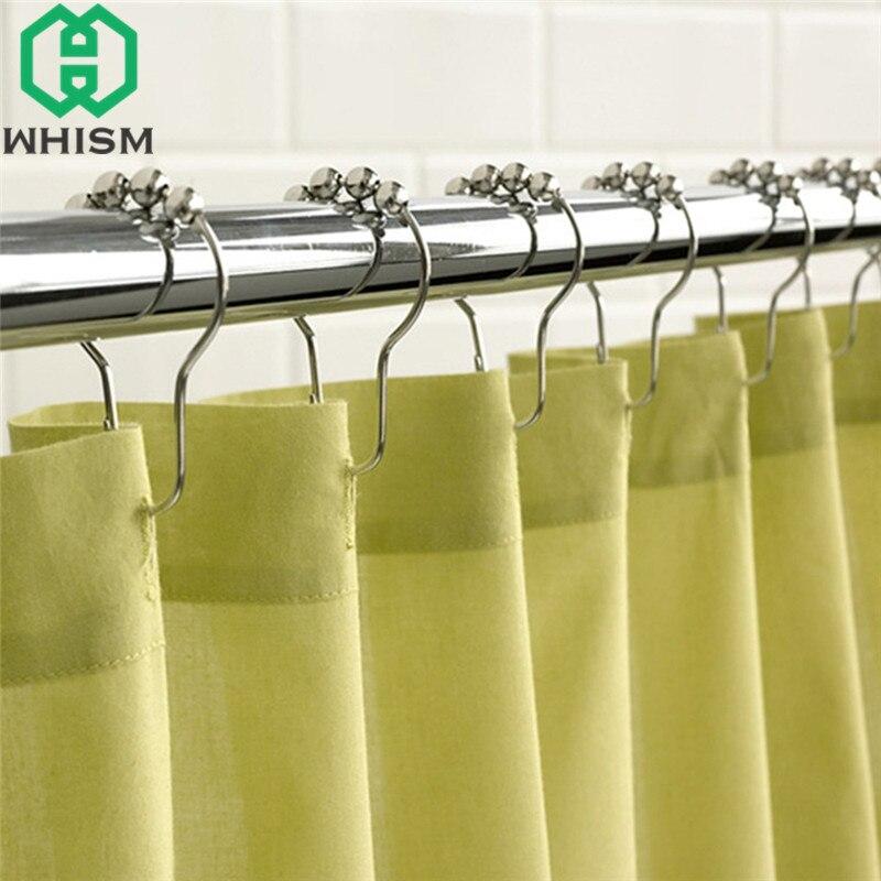 WHISM 5pcs Metal Shower Curtain Hooks Bath Curtain Eyelet Curtains ...