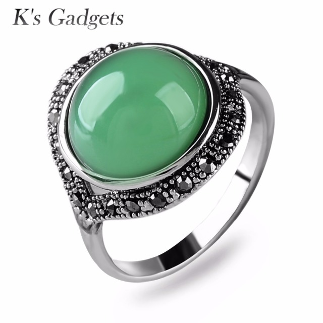Light Green Stone Rings For Women Antique Silver Color Black Crystal  Rhinestone Anillos Natural Stone Rings