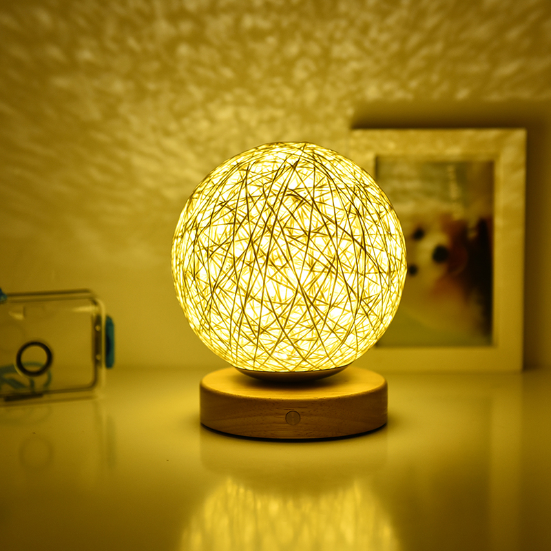 Rattan Ball Table Lamp for Bedroom Touch Control Dimming LED Night Nightstand Decorative Bedside