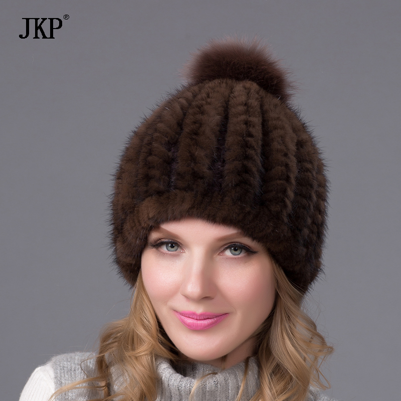 2017 new fashion winter warm hat genuine mink fur ball cap with copious female beanie knit cap and liner 6 colors BZ-11 the new children s cubs hat qiu dong with cartoon animals knitting wool cap and pile