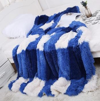 160*200cm Long Shaggy Fuzzy Faux Fur Warm Cozy Blanket Fluffy Plush Throw Blankets Plaid Sofa Bed Cover Bedspread koc narzuta