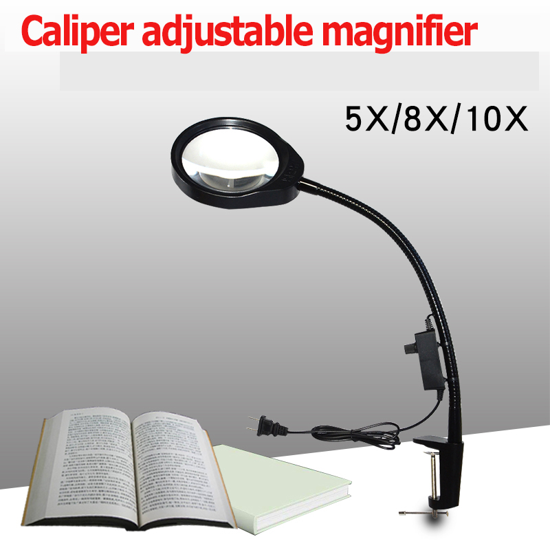 Magnifying Glass LED Light 5X 8X 10X LED Illuminating Magnifier desktop Magnifier With Clamp Repair Tools new universal desktop magnifier usb with led light 10x for maintenance reading micro engraving magnifying glass