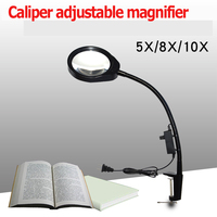 Magnifying Glass LED Light 5X 8X 10X LED Illuminating Magnifier desktop Magnifier With Clamp Repair Tools
